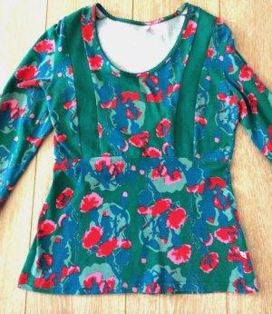 Blutsgeschwister Stretch Shirt Blumen Gr.M Rockabilly Feminin
