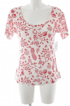 Blutsgeschwister T-Shirt weiß-rot florales Muster Casual-Look