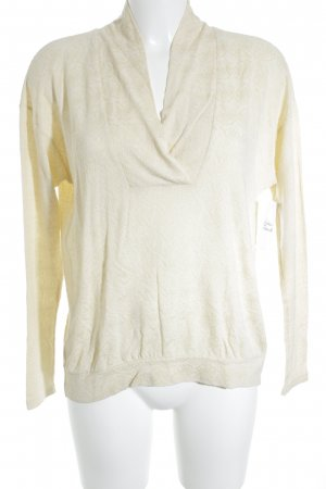Blutsgeschwister V-Neck Sweater oatmeal flower pattern casual look