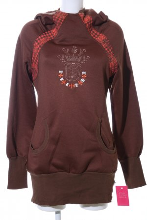 Blutsschwester Hooded Sweater brown-red themed print casual look