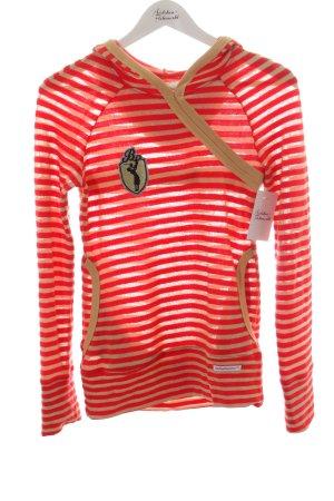 Blutsschwester Kapuzenpullover rot-goldfarben Streifenmuster sportlicher Stil