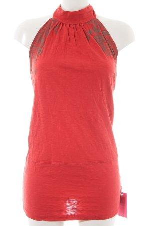 Blutsschwester Abito con corpetto rosso chiaro-color cammello motivo floreale