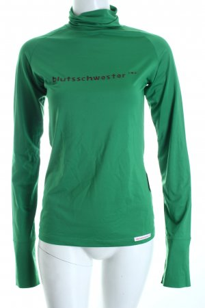 Blutsschwester Rollkragenshirt grün-bordeauxrot Casual-Look