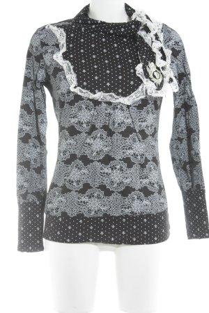 Blutsschwester Rollkragenshirt schwarz-weiß Mustermix Casual-Look