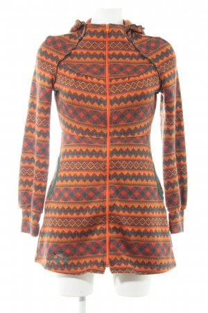 Blutsschwester Strickjacke orange-waldgrün Aztekenmuster Casual-Look