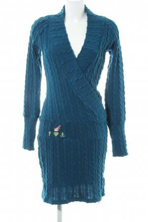 Blutsschwester Gebreide jurk petrol losjes gebreid patroon simpele stijl