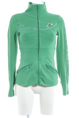 Blutsschwester Sweatjacke grün Schriftzug gestickt Casual-Look