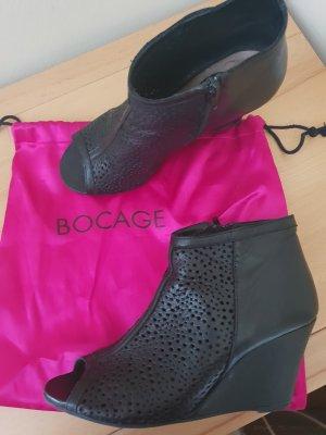 Bocage Pumps Peeptoe schwarz Leder 38/39