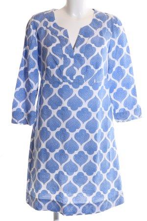 Boden A-lijn jurk blauw-wit volledige print casual uitstraling