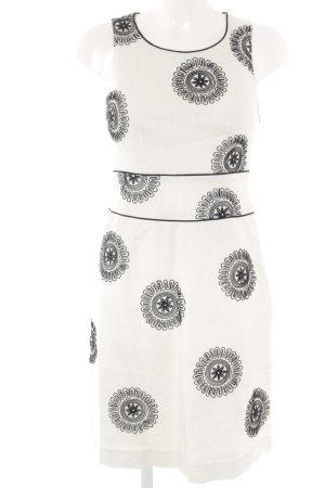 Boden A-Linien Kleid weiß-schwarz Blumenmuster Romantik-Look