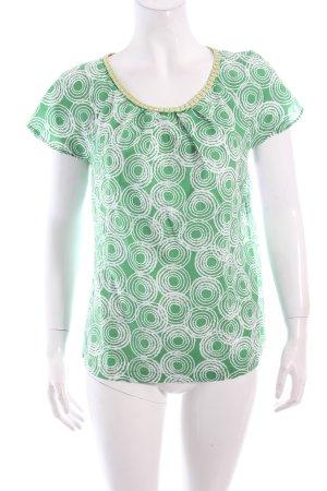 Boden A-Linien Top hellgrün-weiß grafisches Muster Casual-Look