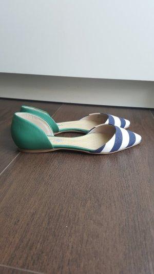 Boden Ballerinas 39 spitz gestreift maritim grün/blau/weiß