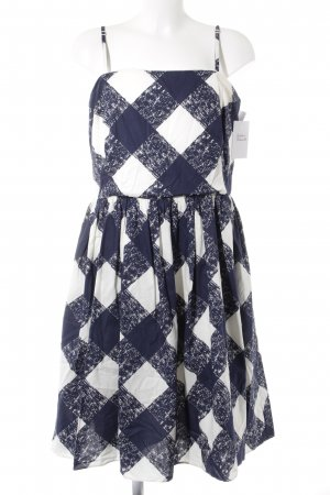 Boden Balloon Dress natural white-dark blue check pattern casual look