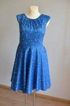 Boden Babydoll-jurk neon blauw-wit