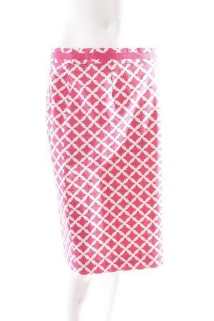 Boden Bleistiftrock pink-weiß Kunstmuster Bortenbesatz