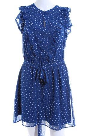 Boden Blusenkleid blau-weiß Allover-Druck Casual-Look