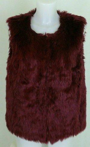 Boden Gilet en fourrure bordeau-rouge carmin tissu mixte