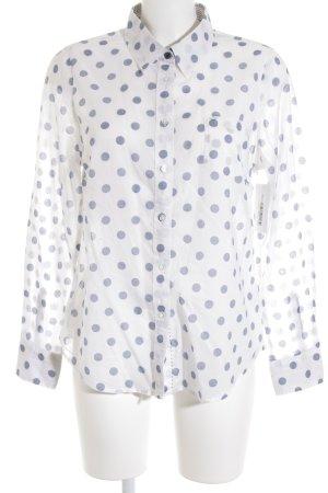 Boden Hemd-Bluse weiß-graublau Punktemuster Casual-Look
