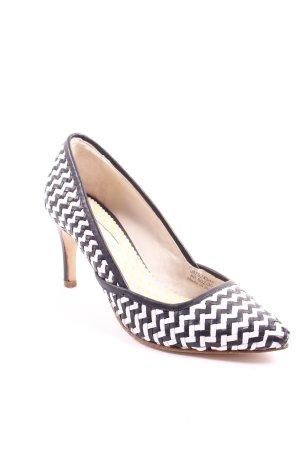 Boden High Heels schwarz-weiß Zackenmuster Eleganz-Look