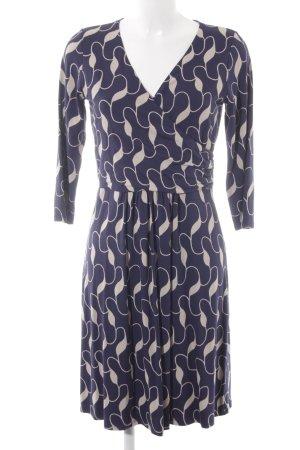 Boden Jersey Dress cream-dark blue abstract pattern simple style