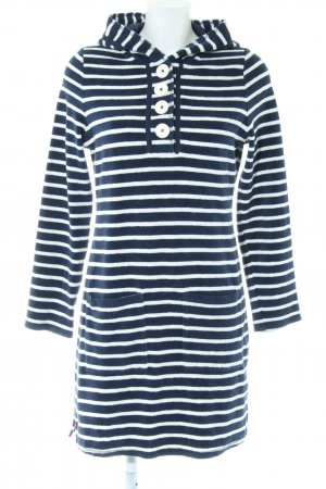 Boden Hooded Dress blue-white striped pattern casual look