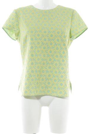 Boden Kurzarm-Bluse grasgrün-dunkelgelb Blumenmuster Casual-Look