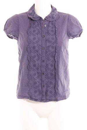 Boden Kurzarm-Bluse grauviolett florales Muster Elegant