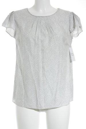 Boden Kurzarm-Bluse hellgrau-wollweiß Punktemuster minimalistischer Stil