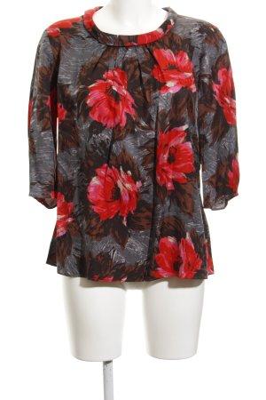 Boden Langarm-Bluse grau-karminrot Blumenmuster extravaganter Stil