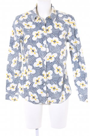 Boden Langarm-Bluse limettengelb-weiß Blumenmuster Casual-Look