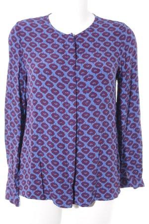 Boden Langarm-Bluse stahlblau-purpur abstraktes Muster Casual-Look