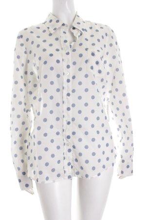 Boden Langarm-Bluse weiß-blassblau Punktemuster Street-Fashion-Look