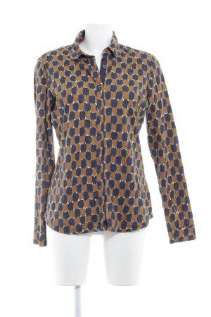 Boden Langarmhemd dunkelblau-ocker Allover-Druck Casual-Look