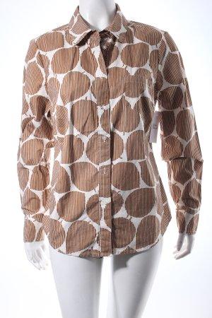 Boden Langarmhemd hellbraun-wollweiß florales Muster Brit-Look