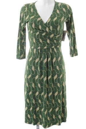 Boden Langarmkleid grün-gelb abstraktes Muster Hippie-Look
