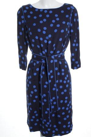 Boden Jurk met lange mouwen zwart-blauw gestippeld patroon vintage uitstraling
