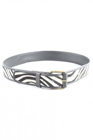 Boden Leather Belt black-natural white striped pattern safari look