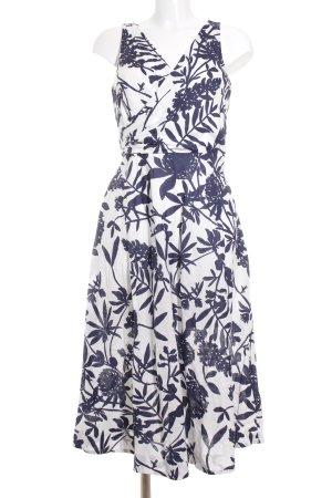 Boden Midikleid weiß-dunkelblau florales Muster Casual-Look