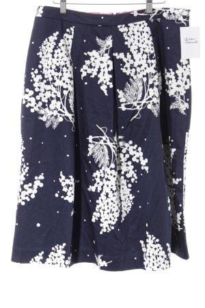 Boden Midirock dunkelblau-wollweiß Blumenmuster