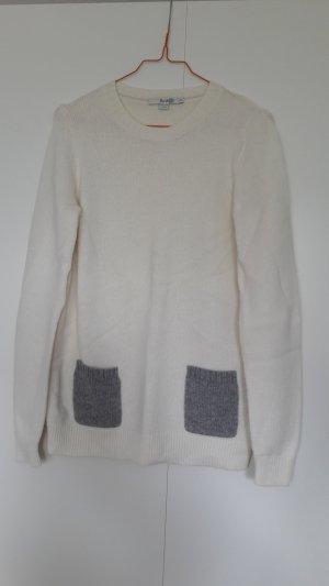 Boden Pullover Wolle Kaschmir wollweiß grau mit Taschen Gr. S