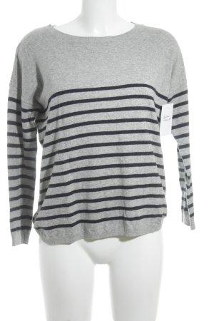 Boden Kraagloze sweater grijs-donkerblauw gestreept patroon casual uitstraling