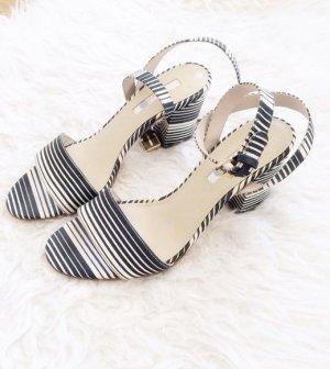 Boden Sandalette Marine blau weiß Creme Absatz Sandalen Luxus Leder 38 neu