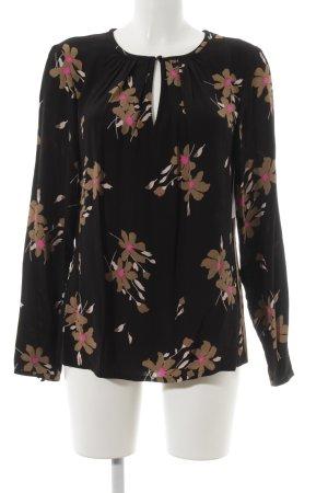 Boden Blouse à enfiler noir-magenta motif de fleur élégant