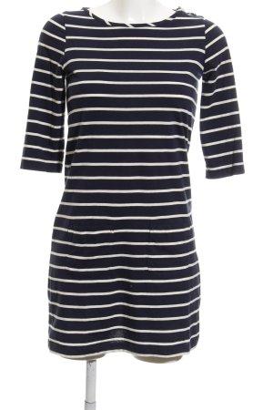 Boden T-shirt jurk wit-donkerblauw gestreept patroon casual uitstraling