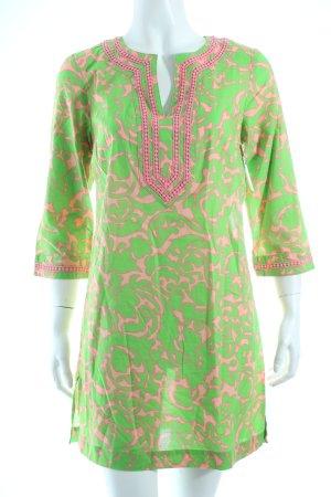 Boden Shirttunika neongrün-rosa abstraktes Muster Retro-Look