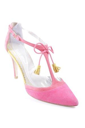 Boden T-Strap Sandals pink-dark yellow elegant