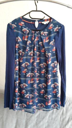 Boden Tunika blau XS 34 UK 8 Shirt locker Bluse bunt