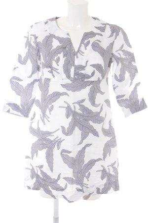 Boden Tunikakleid weiß-graubraun abstraktes Muster Boho-Look