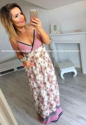 Bodenlanges Kleid Hippie Flower Maxikleid Träger Sommerkleid Blogger Kleid High-Waist passt bei 40/42