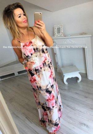 Bodenlanges Kleid Hippie Flower Maxikleid Träger Sommerkleid Blumen Blogger Kleid High-Waist passt bei 40/42